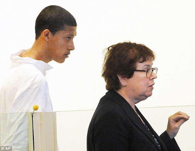 Charged: Philip Chism, 14, appeared in court Wednesday afternoon to answer charges that he beat Ritzer to death. He did not speak during his appearance and will not be released on bail