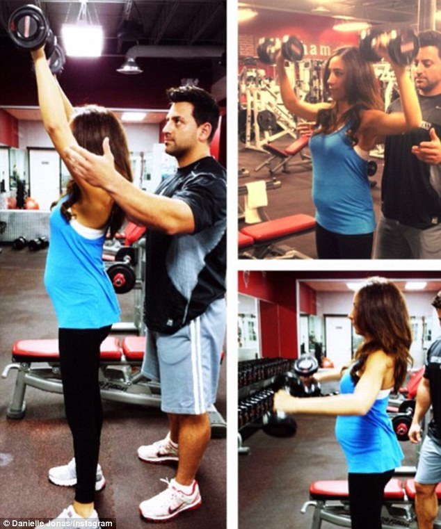 Getting pumped: Danielle Jonas posted a picture of herself working out on Thursday