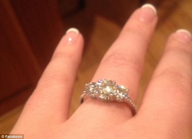 Happier times: A Facebook image shows Dobson's engagement ring. The couple were married Sunday