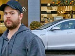 New ride: Jack Osbourne grabbed a meal with a friend on Thursday and they later got into his new Tesla electric car