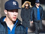 Holding hands: Nick Jonas and girlfriend Olivia Culpo held hands on Wednesday as they met up with friends in Mammoth Lake, California