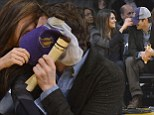 PDA alert! Mila Kunis and Ashton Kutcher pucker up for the Kiss Cam courtside at LA Lakers game