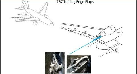 The jetliner wreckage found last week near ground zero was part of a flap mechanism, not a landing gear as initially reported by the police. This sketch shows the position on a Boeing 767 of the found part.
