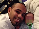Horrific: Enrique Santiago, 20 (left) has been accused of beating his girlfriend's newborn son (right) since birth