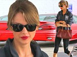 Trying to be seen? Taylor Swift wore her signature red pout as she hit up the gym in Los Angeles, California on Saturday