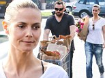 Barefaced Heidi Klum shows off her natural beauty as she and boyfriend Martin Kristen are on a casual trip to the grocery