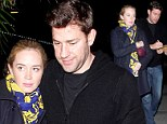 Date night: Pregnant Emily Blunt and John Krasinski cuddled up to see The Wolf Of Wall Street at the ArcLight Cinemas in Hollywood, California on Friday