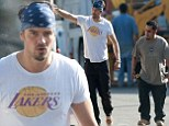 Josh Duhamel oversees construction on his and Fergie's new home in bandana and joggers