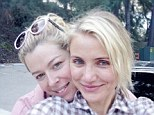 Natural beauty: Cameron Diaz went without make-up for a hike with pal Amanda de Cadenet in a Twitter picture Friday