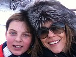 Family time: Elizabeth Hurley posted a skiing selfie of herself and son Damien