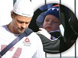 You are my sunshine! Josh Duhamel enjoys the warm weather with his baby boy Axl on a lunch outing