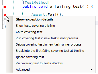 image: context menu of failing test