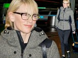 Serious specs appeal! Cate Blanchett arrives in snowy New York sporting chic glasses and a stylish tweed coat