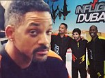 Not so fly guy: Action man Will Smith has trouble catching air during indoor skydiving adventure in Dubai with his famous pals