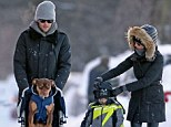 Out you get! Gisele and Tom Brady ousted their son Benjamin from his pushchair to give their dog Lua a comfortable ride in the Boston snow on Friday