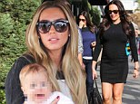 Maternity chic: Pregnant Tamara Ecclestone sports tight fitting sweater dress for lunch with sister Petra and niece Lavinia
