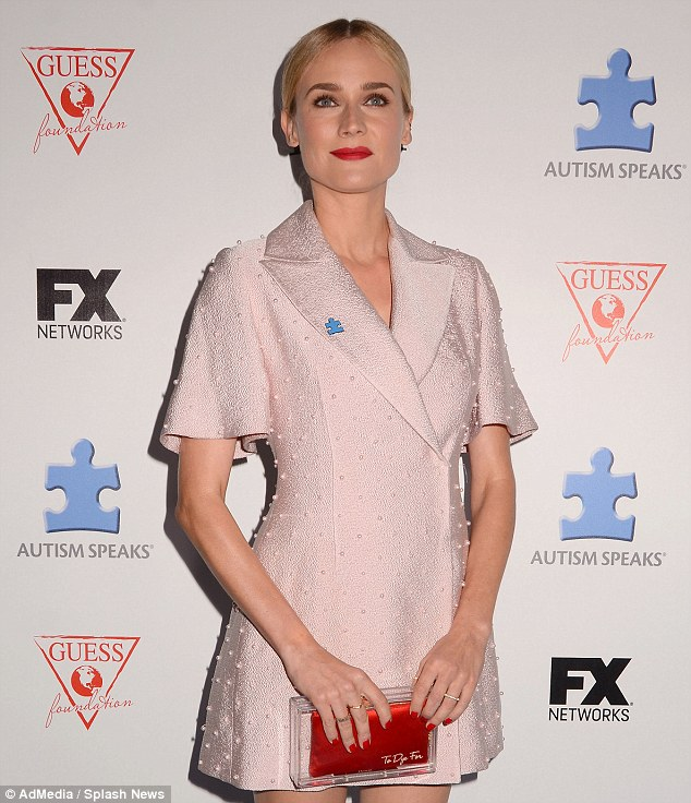Pretty in pink: Diane Kruger stands out after arriving at the event in Hollywood, where the efforts of FX Networks COO Chuck Saftler  were honored