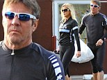 Tough ride? Dennis Quaid - who turns 60 in three months - looks grumpy after bicycle outing with on-again wife Kimberly, 42