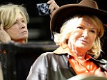 Wearing a bright orange shirt and leather jacket, Martha got into the spirit of the event and topped off her look with the brown hat.