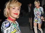 Already in Fifty Shades mode! Rita Ora teams her My Little Pony minidress with a bondage-style necklace and thigh-high boots
