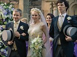 Holmes and Watson once again have murder in mind - despite celebrating the doctor's wedding day. Above, Watson (Martin Freeman, left) marries Mary Morstan (played by his real-life partner Amanda Abbington). Right, Sherlock (Benedict Cumberbatch)