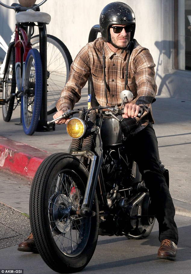 Who's that guy: David went almost unnoticed when he went for a motorbike ride in Venice on Thursday