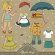 Vintage paper doll and her outfits