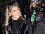 Acceptable in the 80s: Amy Willerton steps out in bizarre brushed velvet overcoat and vintage patterned bag