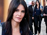 Professional: Courteney Cox looked all business before her appearance on Jimmy Kimmel Live! on Monday, wearing black trousers, a navy blue button up blouse, and black platform pumps