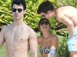 Shirtless Joe Jonas shows off fit physique in shark print swimsuit while in Hawaii with bikini-clad girlfriend Blanda Eggenschwiler