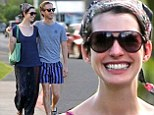 Another day in paradise: Anne Hathaway and husband Adam Shulman enjoy a romantic getaway in Hawaii