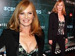 2535711 - Well she's certainly not going undercover! CSI's Marg Helgenberger, 55, risks a serious wardrobe malfunction in a plunging top at the premiere of new show Intelligence