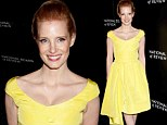 Shine bright: Jessica Chastain dazzled in a bright yellow dress as she arrived at the National Board of Review Awards Gala Red Carpet in New York City on Tuesday