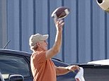 Who needs shoes? Harrison Ford was seen playing football in his socks on the tarmac of the Santa Monica Airport Monday