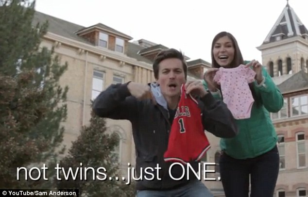Boy or girl? To clarify what might be interpreted the wrong way, the couple write in the caption text that they are expecting 'not twins... just one'