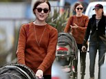 Mommy's day out! Evan Rachel Wood sports a softer look in russet sweater while out to lunch with her baby boy and mom
