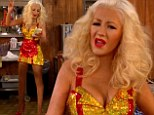 Skinny Christina Aguilera plays a busty waitress in VERY skimpy dress during skit at People's Choice Awards
