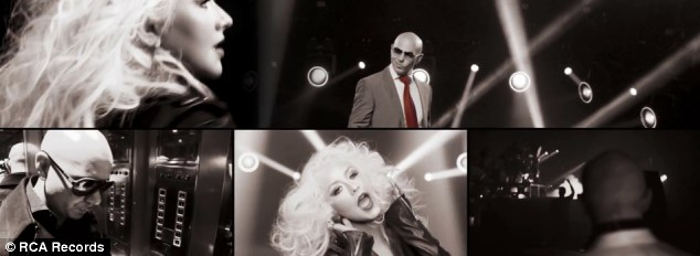 Black and white: The only colour in the video is Pitbull's tie