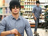 Speedy Gonzales! Zac Efron makes his grocery shop that bit quicker as he whizzes around the store on his skateboard