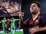 Devouring the opposition: Messi scoring and having a meal with team-mates