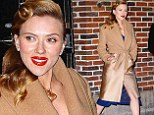Curl power! Scarlett Johansson brings old Hollywood glamour to NYC with vintage style waves, red lipstick and camel coat