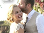 Blushing bride: Teresa Palmer and Mark Webber married in Mexico ahead of the birth of their first child