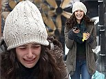 Emmy Rossum sheds tears as she films emotional scenes for Shameless but perks up to flash huge smile between takes