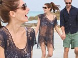 Catch of the day! Ashley Greene reveals perfect bikini body under sexy fishnet kaftan as she makes a splash with boyfriend Paul Khoury in Bahamas