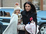 Brave face: Bethenny Frankel showed no strain as she collected daughter Bryn from school on Wednesday