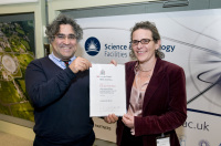 Dr Syliva McLain (University of Oxford) is the winner of the 2012 IOP/RSC BTM Willis Prize for Neutron Scattering. The prize was awarded by Dr Ali Zarbakhsh, Chair of the group.