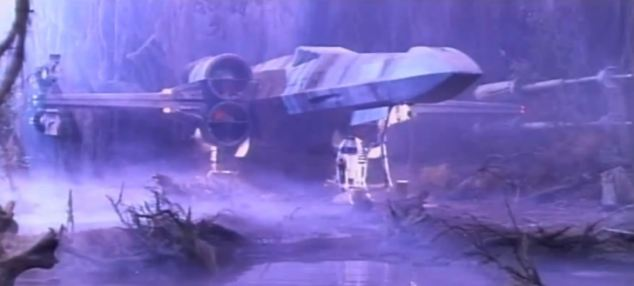 Missing edit: A still from the unused take shows R2-D2 carrying out repairs on an X-Wing Fighter