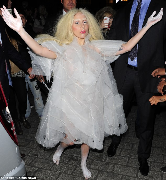 Stage fright? Lady Gaga arrived in London ahead of her performance in X Factor on Sunday