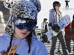 Kylie Jenner goes snowboarding