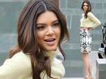 Kendall Jenner shows off her tiny waist and endless legs in yellow cut off sweater and miniskirt for Fashion Police appearance